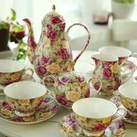 Fashion bone china ceramic coffee cup dish pot gift set 15 coffee utensils 6 spoonfuls