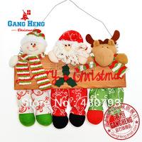 Christmas decorated wood doors hung 38cm plush cartoon Christmas snowman old elk Wall