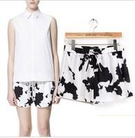 Fashion Women 2013 Black and White Cow Print Shorts Drawstring Lacing Elastic Color Block Decorative Pattern Shorts