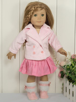 "2PCs 18"" Doll Clothes Outfits Pink Coat&Skirt fit 18'' American Girl 2009"