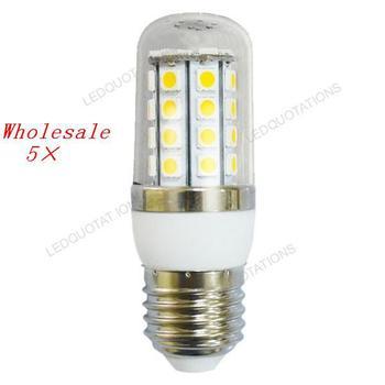 Wholesale 5pcs Super Bright Dimmable E27 AC 220V 7W 36 5050 SMD LED Corn Light Bulb Lamp Transparent Plastic Cover Free Shipping