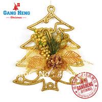 gold powder tree stick bowknot Christmas pendants  decoration 23*20cm 70g