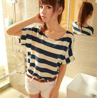 Summer 2013 women's sweet stripe print loose chiffon t-shirt short-sleeve women t-shirt