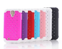 50PCS/lot Luxury 2 in 1 PC+Silicone Hybrid Diamond Bling Case Cover for Samsung Galaxy S4 I9500 DHL Free Shipping