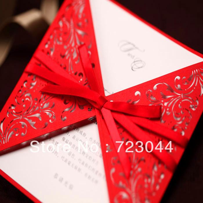 Hochzeitseinladungen Mit Foto Kreative Goldenen Blumen pr Gung in Rot ...