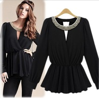 Womens Black Sexy Beaded Collar Elastic Waist Pleated Skirt Style Shirt Blouses Tops