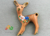 set of 15pcs Antique handpaint handicraft artist jewelry Deer Resin cabochons Pendant Charms for Necklaces  Accessories 1.8inch