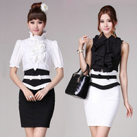 2013 summer bust skirt a-line skirt bow ol skirt slim hip short skirt black