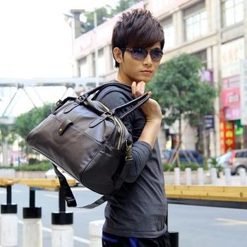 2015 fashion handbag Korean Men's Gym Duffle Satchel Travel PU Leather Shoulder Bag Men Hand bag Free Shipping Wholesale