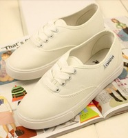 Free Shipping 2013 New Candy-colored Breathable Canvas Shoes Women Flat Shoes White Shoes Korean Version Of Casual Shoes