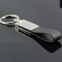 M84002 Belt Loops Black Leather Strap through Waist Belt Keyring Keychain Key Chain Ring Key Fob