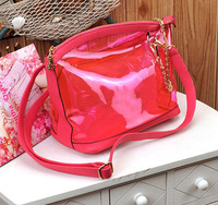 2013 spring candy color jelly bag transparent bags beach crystal messenger bag shoulder bag