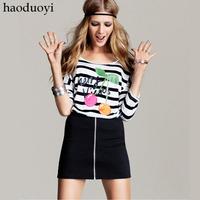 Haoduoyi front zipper slim short skirt all-match high elastic short skirt hm3 6 full