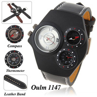 Oulm Brand Multi-Function Genuine Leather Watch for Men with Numerals Indicate Time Dial (Black & White)