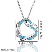 Free Shipping  For Party double heart with blue stone plating white gold  necklace wholesale