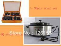Mini Hot Stone Massage Kit - 36pcs/set in wooden box Hot Stone Massage (Basalt Stones) & 6 Litre massage stone heater