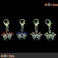(MOQ:4pcs/lot) Chic Rhinestone Crown-shaped Charm Zinc Alloy DIY Accessories For Pet Collars Mixed 4 Colors