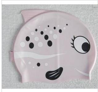 2013 bribed child swimming cap plastic cap silica gel swimming cap fish powder
