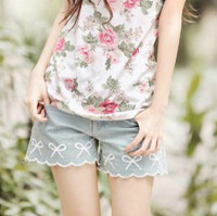 New Fashion! Lovely Sky Blue Women Girls' Bow Embroidered Shorts, Free Shipping