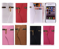 Leather Zipper Wallet Card Holder Flip Magnetic Case Cover for iPhone 4 4G 4S