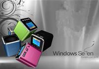 20pcs/lot DHL free shipping  new angel A08 mini CUBE Music Speaker +LED screen disply+FM +U-disk/TF Card port + Retail Package