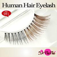 Wholesale Black Brown Mixed Color 100% Real Human Soft Hair Strip False Eyelash Eye Makeup Party Beauty Free Shipping IN a BOX