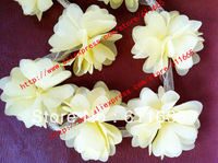 free shipping Wholesale Chiffon solid wedding flower trim on mesh,hair/dress flower garment accessories,30yards/lot