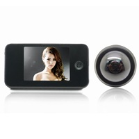 3.5inch LCD Video Intercom Visual Peephole Door Camera with Photo-Shooting and Doorbell - Black
