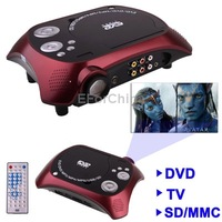 Home Theater Portable DVD Projector with TV Receiver Function, AV IN/ OUT and Game, Support SD/ MMC Card/ USB Flash Disk