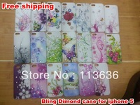 Hot Sale Diamond Bling Case Plastic Hard Back Cover Crystal Rhinestone For iPhone 5 Free shipping