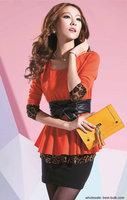 2261 Sexy Women Slim 2pcs Ruffle top+skirt evening party dress