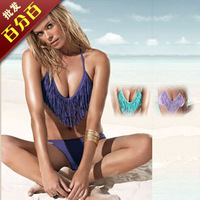 Fashion bikini swimwear female split big small push up tassel t21