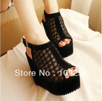 2013 summer hot-selling fashion women's shoes sexy gauze lace Mesh high-heeled Hollow Out wedges platform sandals