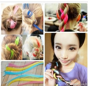 Supermode high temperature wire neon multicolour hair extension hairpin hair accessory wig piece