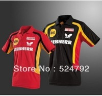 free shipping 2013 NEW Butterfly Man/s Badminton / Tennis/Basketball Polo Shirt RED /BLACK