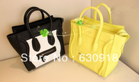 Free Shipping 2013 Women's Brand Patchwork Mini Bag Leather Tote Handbags