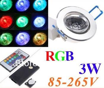 85~265V 3W 1-LED RGB led Light lamp Downlight led downLamp Spot light w/ Remote Control ceiling lamp free shipping