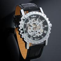 Fashion Leather Manual Mechanical self- Wind Skeleton Watches for Men Vintage Fashion Man Wristwatch WA1001