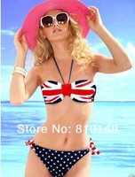 Free Shipping Sexy Women Summer STARS And STRIPES UK Flag Bikini PADDED TWISTED BANDEAU Tube AMERICAN Swimwear 2 Styles