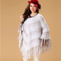 High Quality 2014 Brand New Women Genuine Knitted Mink Fur Shawl Cape Real Natural Fur Coats Outerwear with Tassels Design