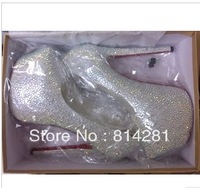 Factory store crystal platform high heel wedding shoes hot pumps rhinestone woman 14cm high heels big size 42