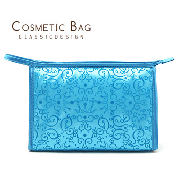 Pure quality tianlan Emboss three-dimensional concave convex high quality satin cosmetic bag storage bag
