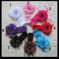 10Pcs/Lot Free Shipping 2013 new arrival Baby Flower Feather Crochet Headbands girls hairbands infant hair accessory headwear