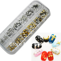 5boxes /lots Metallic Nail Art Decoration Studs in a box with mixed shapes