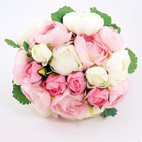 (20heads/bunch) 2014 New.Silk / Simulation / Artificial flower Camellia Romantic,Wedding/Bridal bouquet.Free shipping