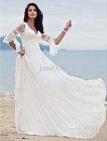 Wholesale - Empire Sheath/ Column Sweep/ Brush Train V-Neck Chiffon Lace long sleeves Wedding Dress