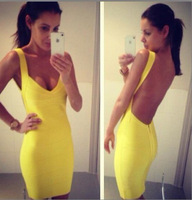 2014 New arrive Women's Sexy H L preferred celebrity dress Party Dresses Luxury Bandage skirt HL-249 yellow color