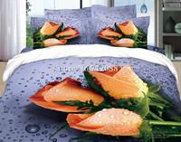 100% cotton oil painting bedding set 3D water drops rose romantic bed linen 4pcs full/queen bed in bag quilt/duvet covers