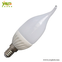 New design 4pcs/lot Ceramic 3w led bulb e14 220v 110v candle led lamp warm & cool white wholesale Free shipping