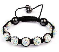 Min order is $10(mix order) Shamballa jewelry Bracelets Micro Pave CZ Disco10mm Ball Bead Handmade Bracelet White AB Color BR071